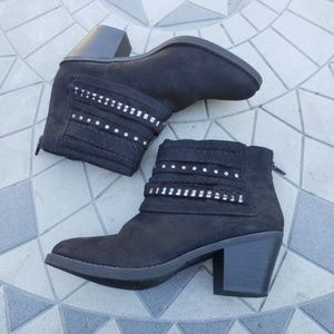 Sugar Faux Suede Embellish Strap Accent Ankle Boot